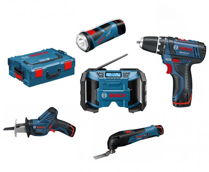 Bosch set 5 scule 10,8 V Li-ion - GSR 10,8-2-LI, GSA 10,8 V-LI, GML 10,8 V-LI, GOP 10,8 V-LI, GLI 10,8 V-LI L-Boxx 0