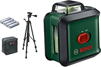 Bosch Set Universal Level 360 Nivela laser cu linii, 120 + 4 x baterii de 1.5 V LR6 (AA) + Stativ din aluminiu de 1.5m + Geanta profesionala 0