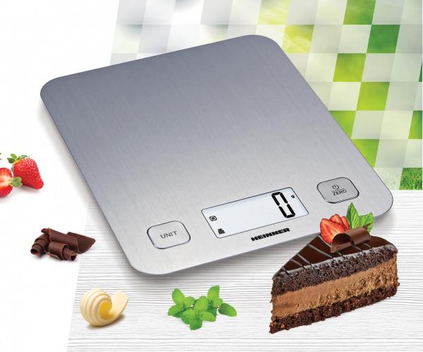 Cantar de bucatarie Heinner HKS-5IX, 5 Kg, 1 g, tara, functie cantarire lichide, display LCD, Inox 1