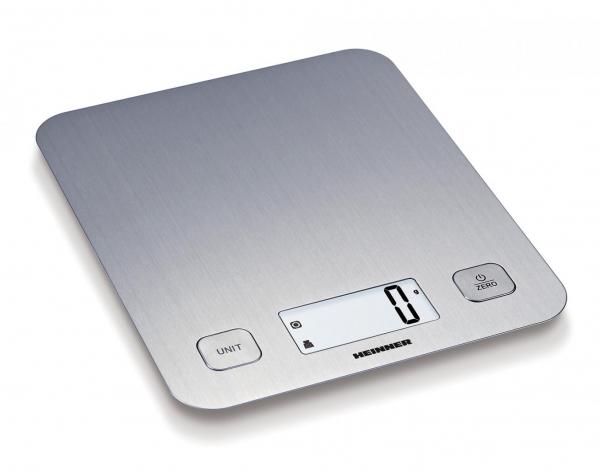 Cantar de bucatarie Heinner HKS-5IX, 5 Kg, 1 g, tara, functie cantarire lichide, display LCD, Inox 0