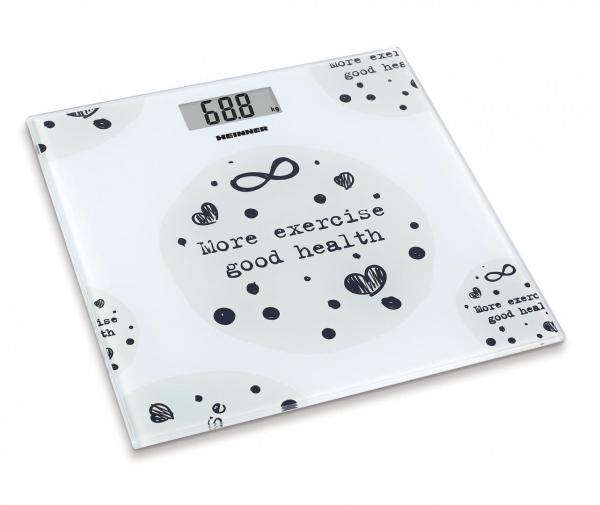 Cantar de persoane Heinner HBS-150MSJ, 150kg, sticla securizata 6mm, 30 x 30 cm, display lcd, Alb 0