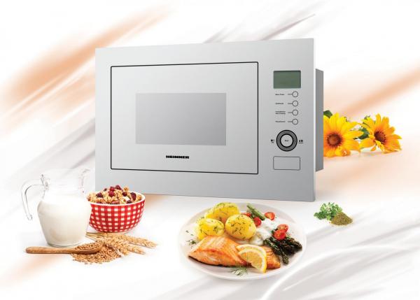 Cuptor cu microunde incorporabil Heinner HMW-25BIGWH, 25 L, 900 W, Grill, Control touch, Display LCD, Sticla Alba 1