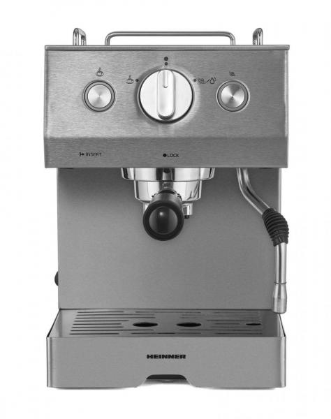 Espressor Heinner HEM-1140SS, 20 bar, 1140 W, 1.5 L, filtru dublu din inox, plita calda, Inox [1]