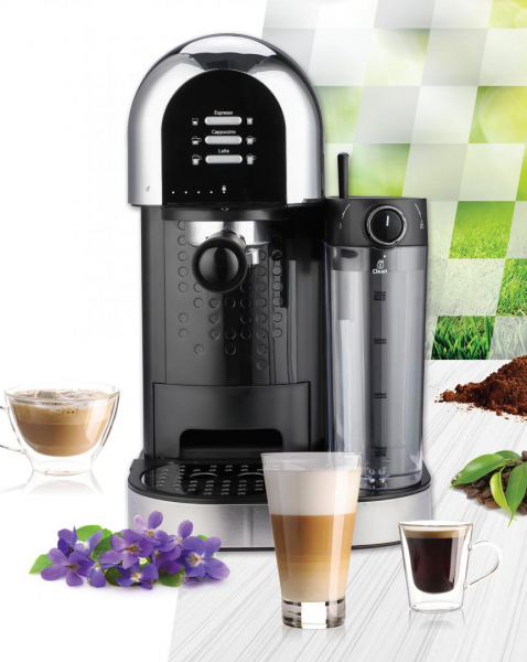 Espressor manual Heinner Coffee Dreamer HEM-DL1470BK, 1230-1470W, 20bar, , dispozitiv spumare lapte, rezervor detasabil lapte 500ml, rezervor apa 1.7L, 6 tipuri de bauturi, Negru 3