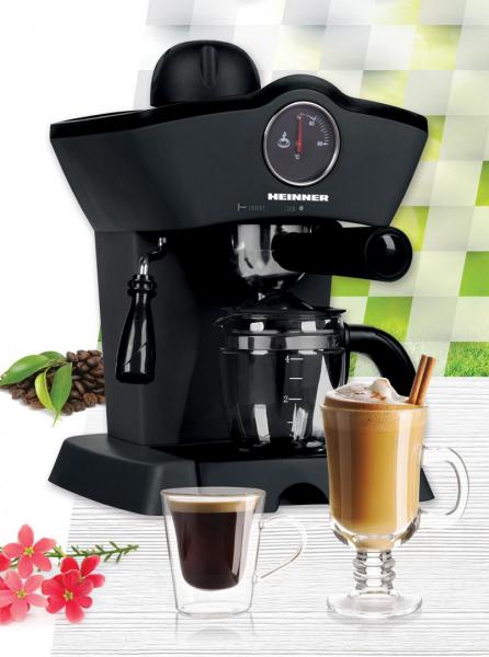 Espressor manual Heinner Retro Effect HEM-200BK, 800W, 3.5bar, capacitate rezervor 0.24L, termometru frontal apa, optiuni preparare: espresso si cappuccino, Negru 1