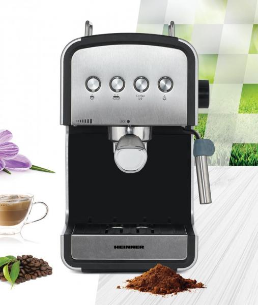 Espressor semi-automat Heinner HEM-B2012SA, 20 bar, 850W, rezervor apa detasabil 1.2l, optiuni presetate pentru espresso lung/scurt, filtru din inox, plita pentru mentinere cafea calda, decoratii inox 4