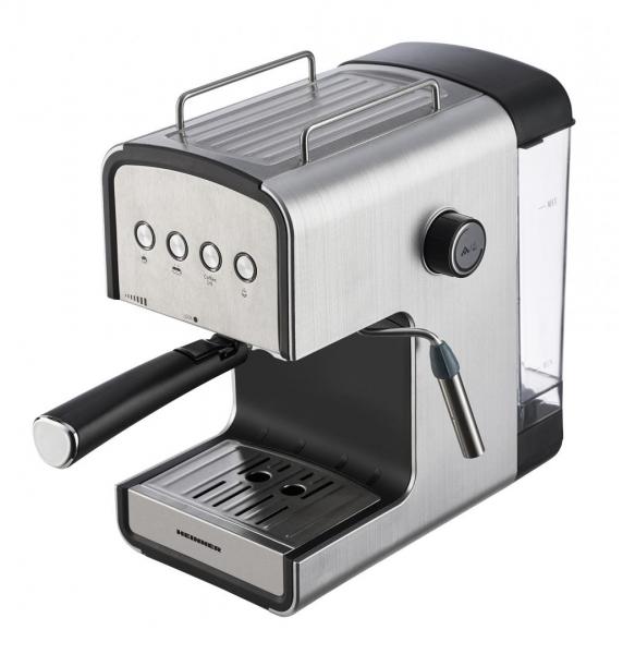 Espressor semi-automat Heinner HEM-B2012SA, 20 bar, 850W, rezervor apa detasabil 1.2l, optiuni presetate pentru espresso lung/scurt, filtru din inox, plita pentru mentinere cafea calda, decoratii inox 0