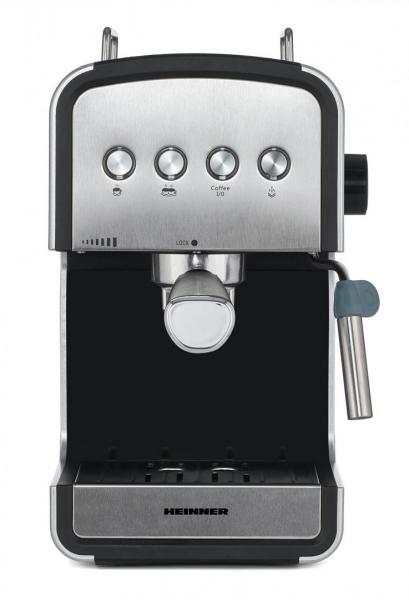 Espressor semi-automat Heinner HEM-B2012SA, 20 bar, 850W, rezervor apa detasabil 1.2l, optiuni presetate pentru espresso lung/scurt, filtru din inox, plita pentru mentinere cafea calda, decoratii inox 2
