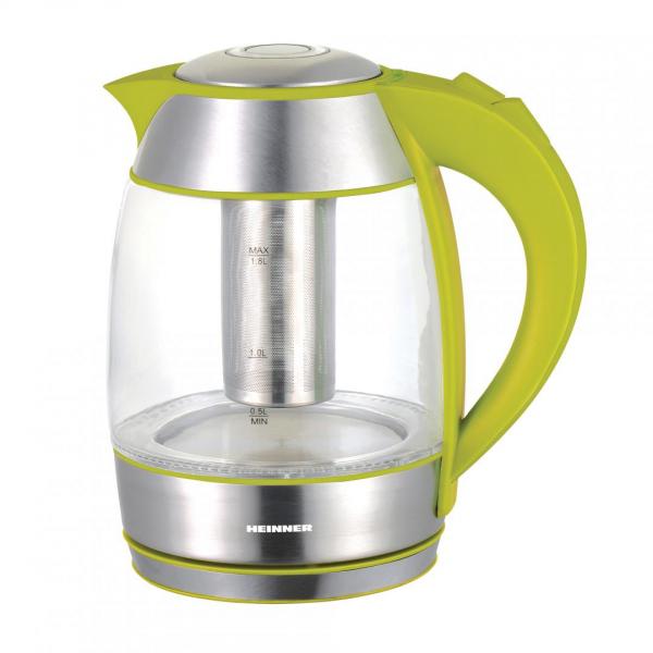Fierbator Heinner cu filtru de ceai, 1.8l, Verde, sticla 0