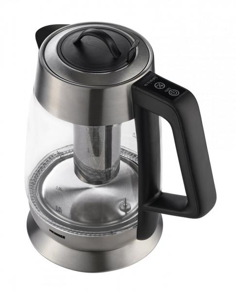 Fierbator cu filtru de ceai Heinner HEK-TF18GX, 1.8 L, 5 setari temperatura, iluminare colorata, control touch, element inox, oprire automata, Inox/Sticla 1