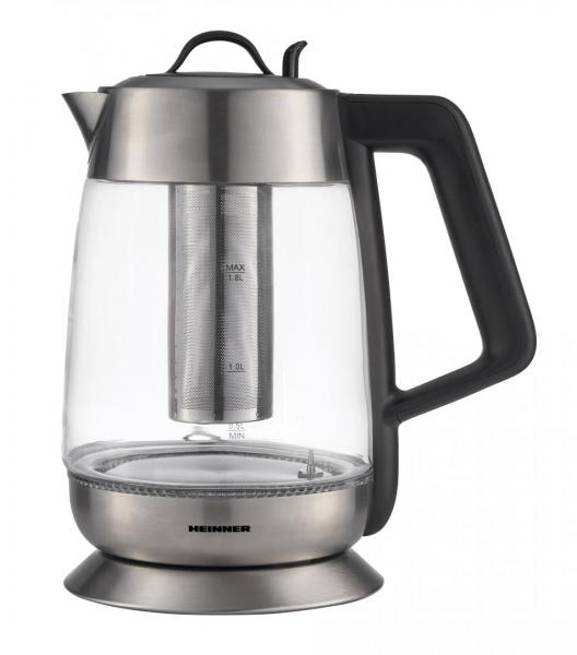 Fierbator cu filtru de ceai Heinner HEK-TF18GX, 1.8 L, 5 setari temperatura, iluminare colorata, control touch, element inox, oprire automata, Inox/Sticla 0