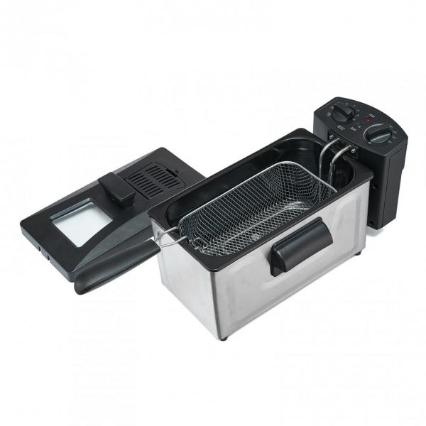 Friteuza Heinner HDF-1800SS, 1800 W, termostat reglabil, timer, 3 L, Inox 1