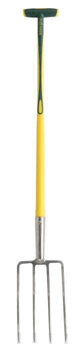 Furca pentru sapat din inox, H: 30 cm, cu 4 dinti patrati, coada NOVAGRIP, capat forma T 0