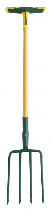 Furca pentru sapat PRO, H: 30 cm,  cu 4 dinti patrati , coada din fibra de sticla, capat forma T [0]