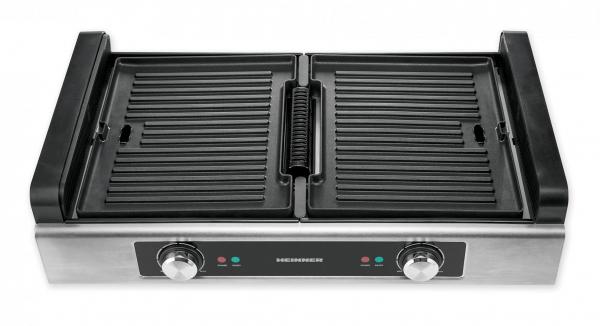 Gratar electric Heinner HSEG-1800SS, 1800 W, functie filtrare fum, 2 placi reversibile antiadezive, temperatura reglabila, Inox 1