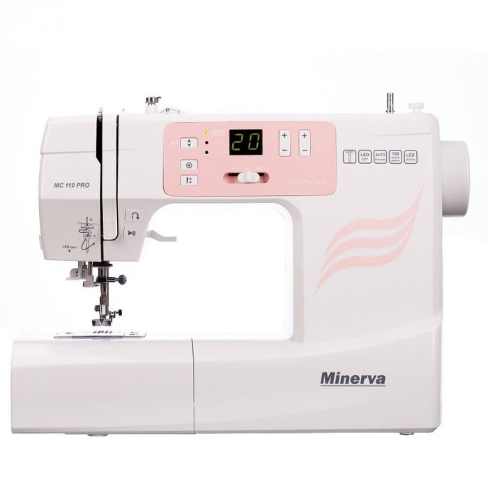 Masina de cusut digitala Minerva MC110PRO, 100 programe, 800 imp/min, 70W, Alb/Roz 0