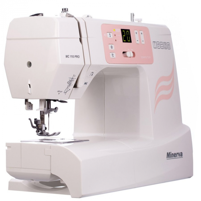 Masina de cusut digitala Minerva MC110PRO, 100 programe, 800 imp/min, 70W, Alb/Roz 4