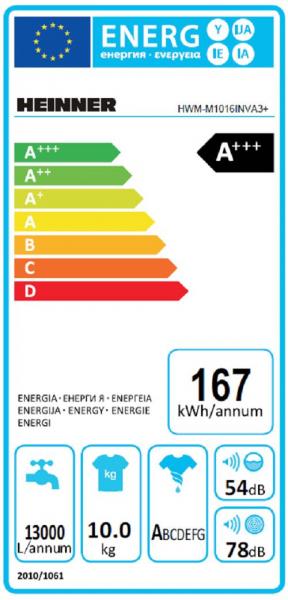 Masina de spalat rufe Heinner HWM-M1016INVA3+,10 kg, 1600 RPM, Clasa A+++, Motor Inverter, Display LED, Alb 5