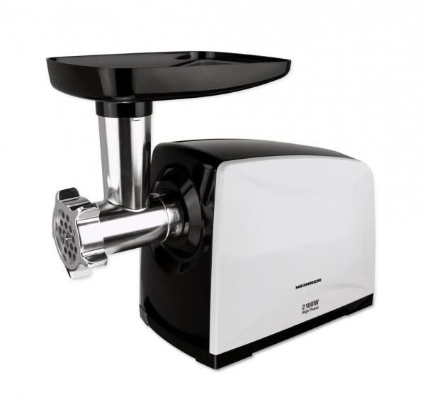 Masina de tocat carne Heinner MG-2100BKWH, 2100 W, accesoriu rosii, Cutit Inox, Negru/Alb 1