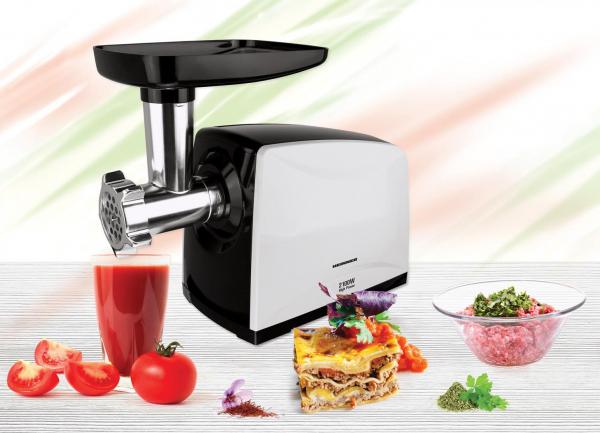 Masina de tocat carne Heinner MG-2100BKWH, 2100 W, accesoriu rosii, Cutit Inox, Negru/Alb 3