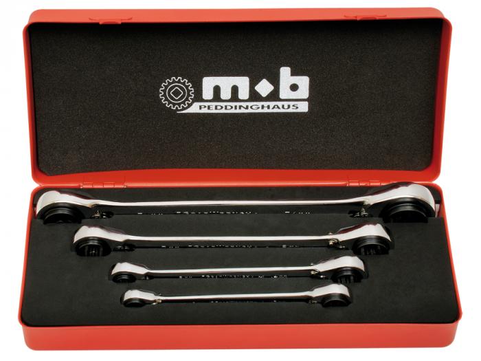 Set 4 chei cu dublu clichet reversibil 4×4 in cutie metal, Mob&Ius 0