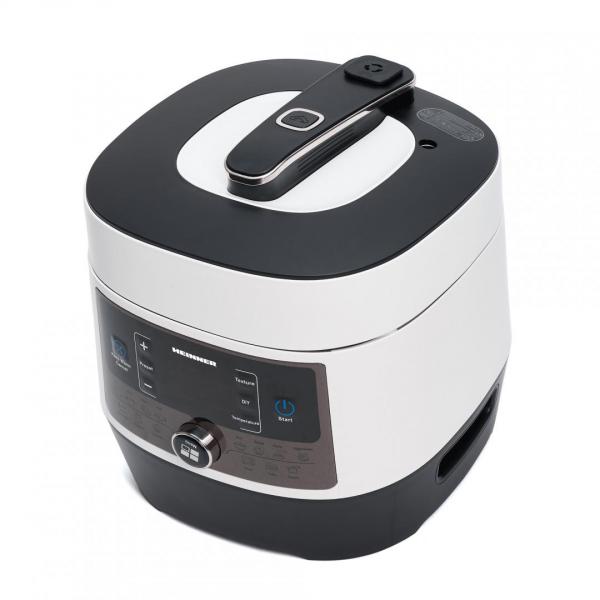 Multicooker cu gatire la presiune Heinner HPCK-6WH, 4.5 L, 14 programe, vas antiadeziv detasabil, Timer, presiune reglabila, display LED, Alb 1