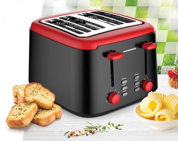 Prajitor de paine Heinner Wassay 1450 HTP-1450BKR, 1450W, capacitate 4 felii, 7 niveluri de rumenire, negru/Rosu 1