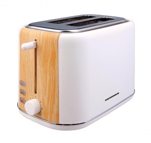 Prajitor de paine Heinner HTP-WH800BB, 800 W, 2 felii, dezghetare, 7 niveluri de rumenire, Alb 0