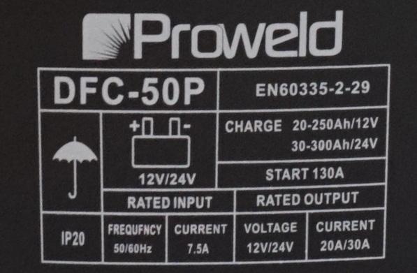 ProWELD DFC-50P redresor acumulatori 12V/24V, functie Start 0