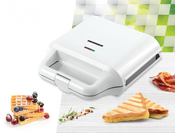 Sandwich maker Heinner SM-2H700WH, 700 W, 2 placi detasabile antiadezve: waffle, grill, Alb 2