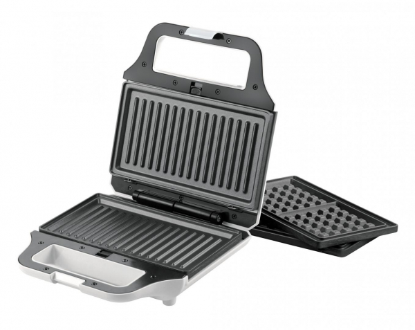 Sandwich maker Heinner SM-2H700WH, 700 W, 2 placi detasabile antiadezve: waffle, grill, Alb 1