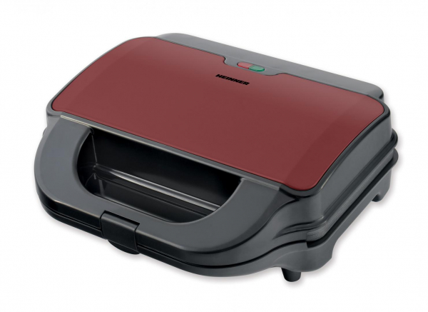 Sandwich maker Heinner SM-2H900BKS, 900 W, placi XL, 2 placi detasabile antiadezive: waffle, grill, Negru/Rosu 0