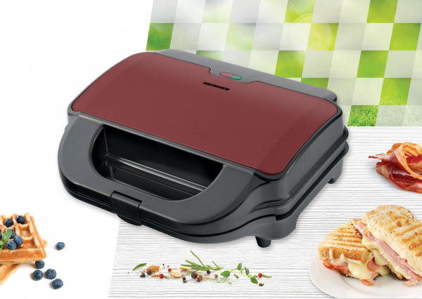Sandwich maker Heinner SM-2H900BKS, 900 W, placi XL, 2 placi detasabile antiadezive: waffle, grill, Negru/Rosu 2