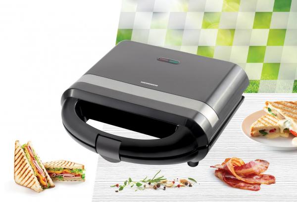 Sandwich maker Heinner SM-H700BK, 700 W, placi antiadezive fixe tip grill, Negru 2