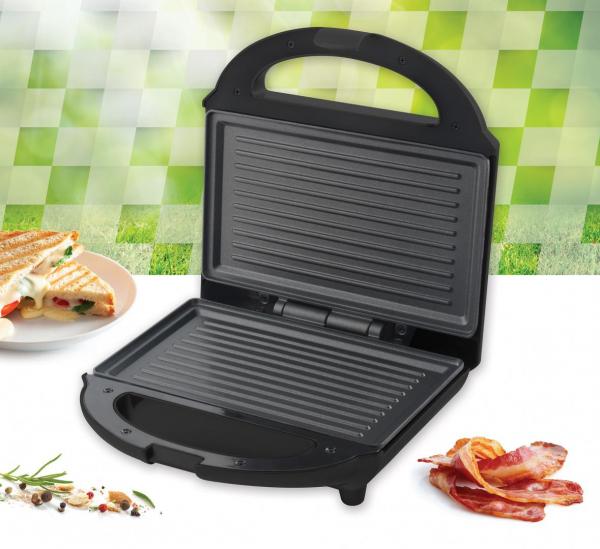 Sandwich maker Heinner SM-H700BK, 700 W, placi antiadezive fixe tip grill, Negru 3