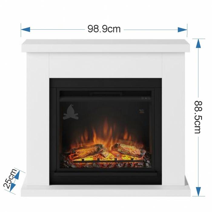 Semineu TAGU Frode Pure White cu Focar Electric PowerFlame, 23 inch, FM461-WH1 + 23PF1A 4