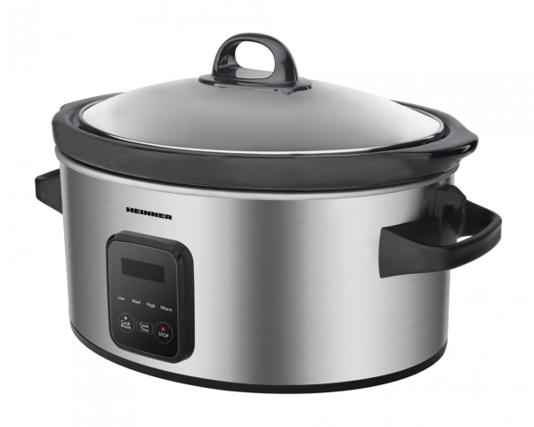 Slow cooker Heinner HSCK-C57IXBK, 220 W, 5.7 L, vas ceramic, display LED, timer si 3 setari temperatura, Inox 1