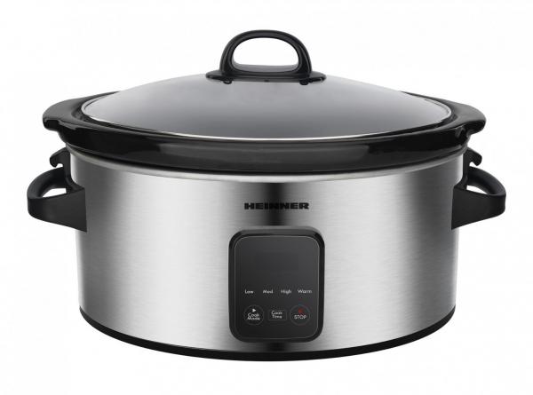 Slow cooker Heinner HSCK-C57IXBK, 220 W, 5.7 L, vas ceramic, display LED, timer si 3 setari temperatura, Inox 0