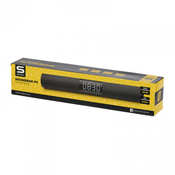 SoundBar PC Serioux SoundVibe 20W, bluetooth 4.2, acumulator, AUX, USB, Radio FM, Negru 2