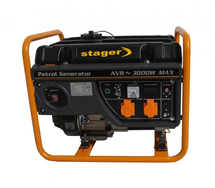 Stager GG 3400 generator open-frame 2.6kW, monofazat, benzina, pornire la sfoara 0