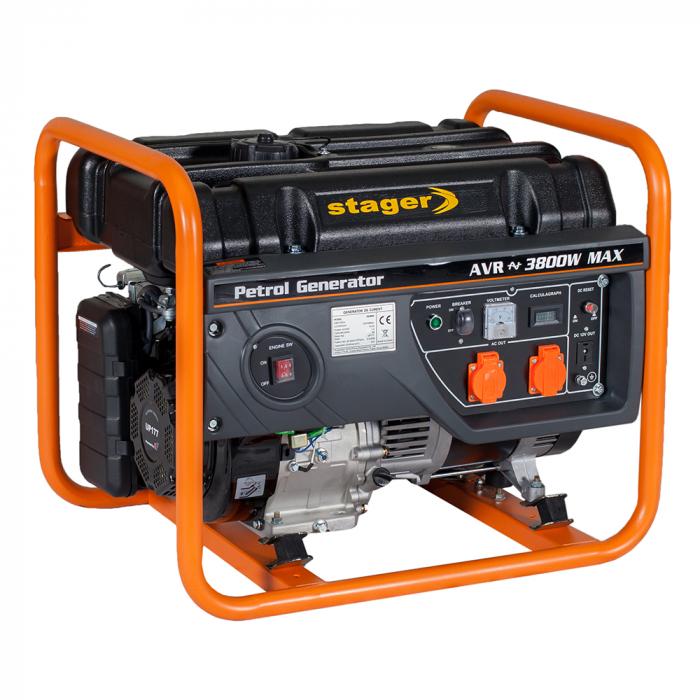 Stager GG 4600 generator open-frame 3.8kW, monofazat, benzina, pornire la sfoara [0]