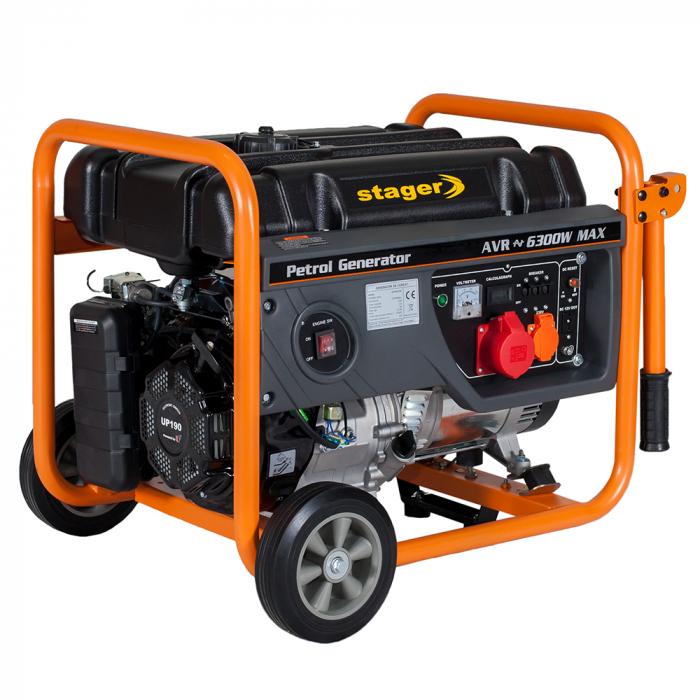 Stager GG 7300-3W generator open-frame 5.8kW, trifazat, benzina, pornire la sfoara 0