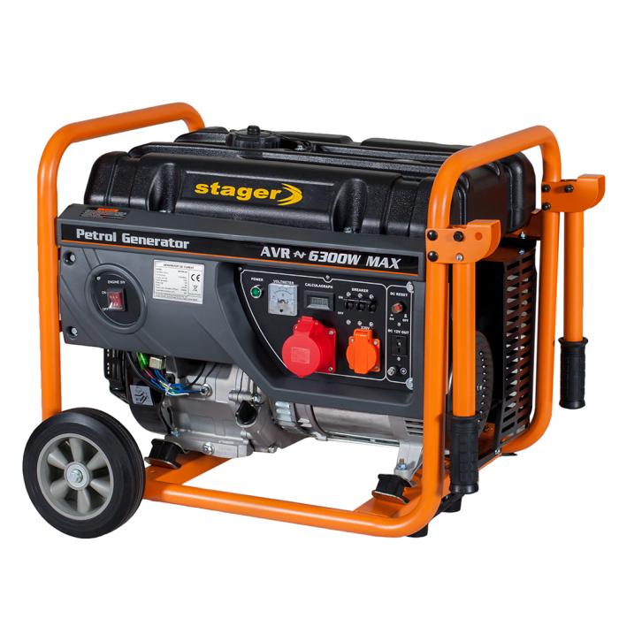 Stager GG 7300-3W generator open-frame 5.8kW, trifazat, benzina, pornire la sfoara 2