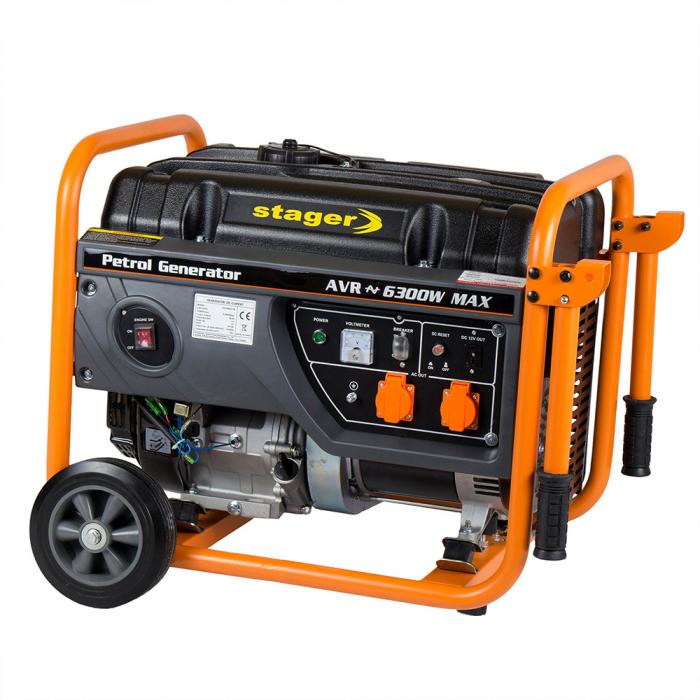 Stager GG 7300W generator open-frame 5.8kW, monofazat, benzina, pornire la sfoara [2]