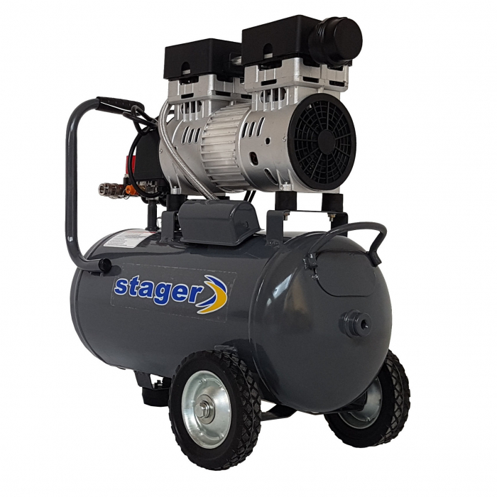 Stager HM0.75JW/24 compresor aer, 24L, 8bar, 165 L/min, monofazat, angrenare directa, silentios 0