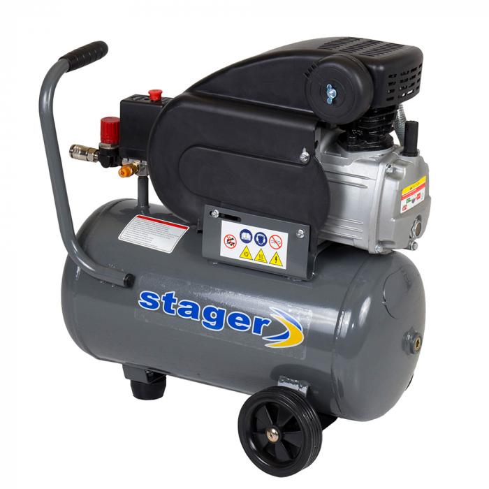 Stager HM2024F compresor aer, 24L, 8bar, 200L/min, monofazat, angrenare directa 1