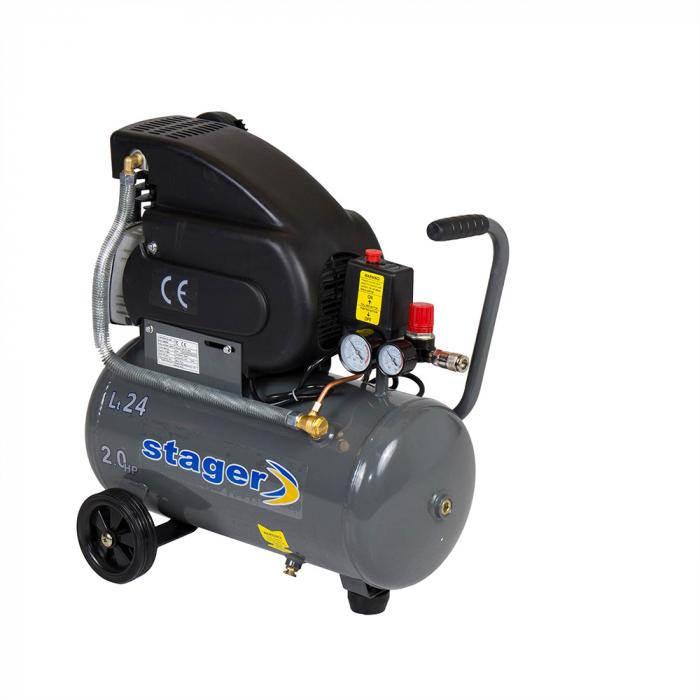 Stager HM2024F compresor aer, 24L, 8bar, 200L/min, monofazat, angrenare directa 0