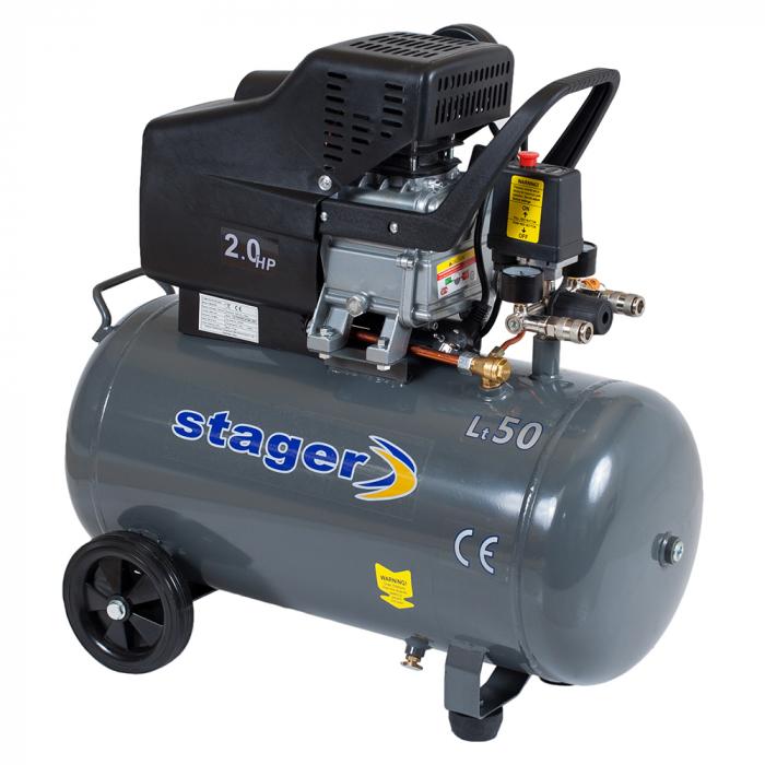Stager HM2050B compresor aer, 50L, 8bar, 200L/min, monofazat, angrenare directa 1