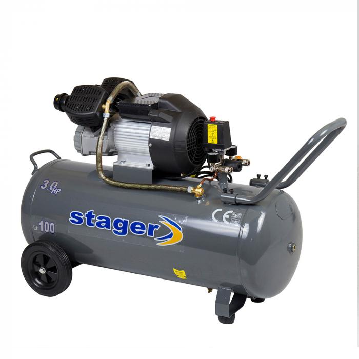 Stager HM3100V compresor aer, 100L, 8bar, 356L/min, monofazat, angrenare directa 1