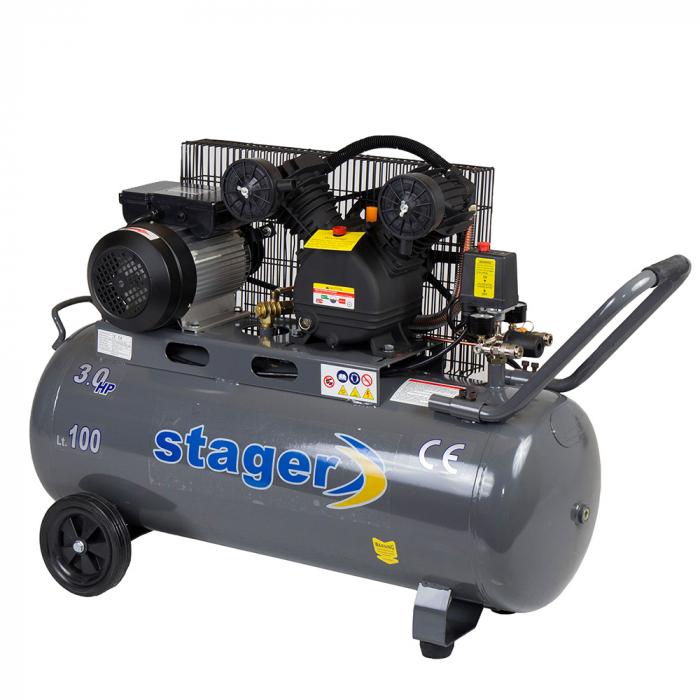 Stager HMV0.25/100 compresor aer, 100L, 8bar, 250L/min, monofazat, angrenare curea 0